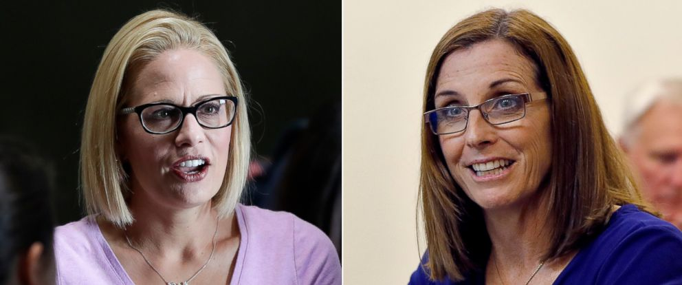 PHOTO: Pictured (L-R) are Rep. Kyrsten Sinema on Aug. 21, 2018 and Rep. Martha McSally on Oct. 3, 2018, in Phoenix.