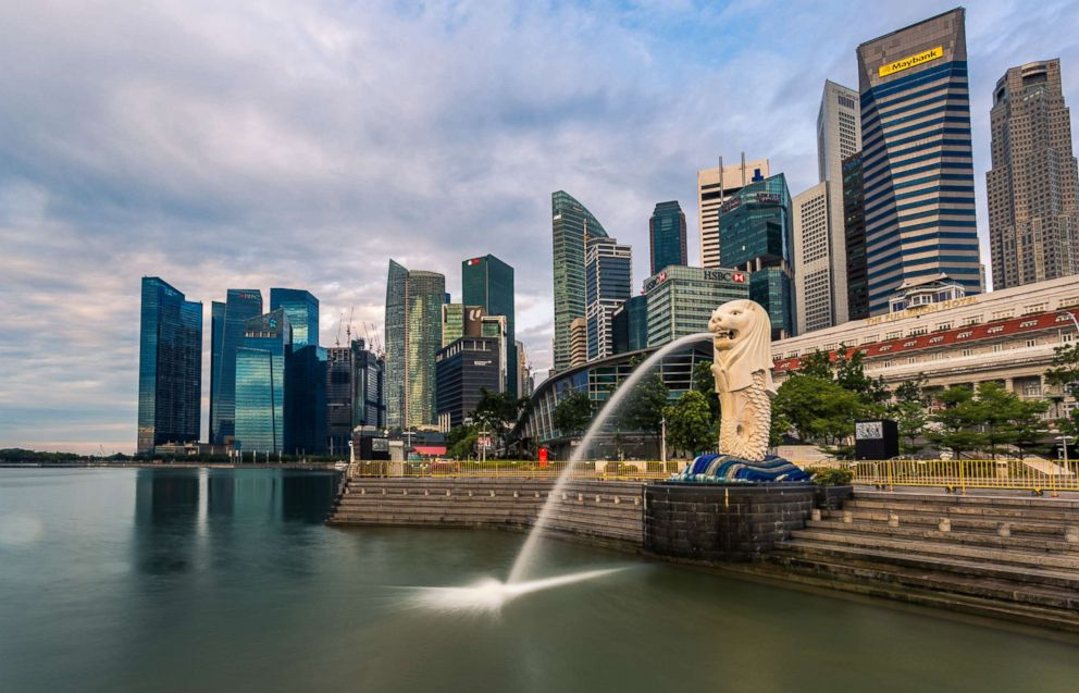 PHOTO: A general view of the Singapore skyline from Merlion Park at sunrise, in this file photo dated Sept. 18, 2016.
