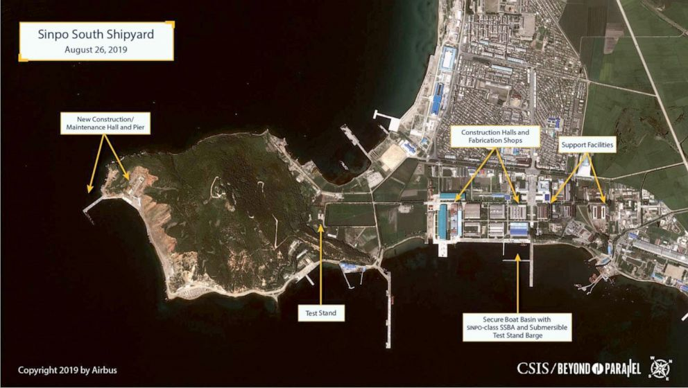PHOTO: New Beyond Parallel satellite images of the Sinpo South Shipyard in North Korea, taken on August 26, 2019, suggest North Koreas construction of a new ballistic missile submarine and evidence indicating possible preparations for a missile test.