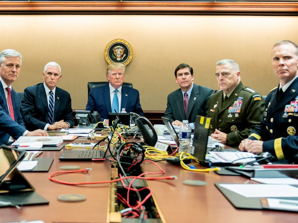 PHOTO: President Donald Trump and government officials monitor developments as special operations forces close in on ISIS leader Abu Bakr al-Baghdadis compound in Syria in the situation room at the White House, Oct. 26, 2019.