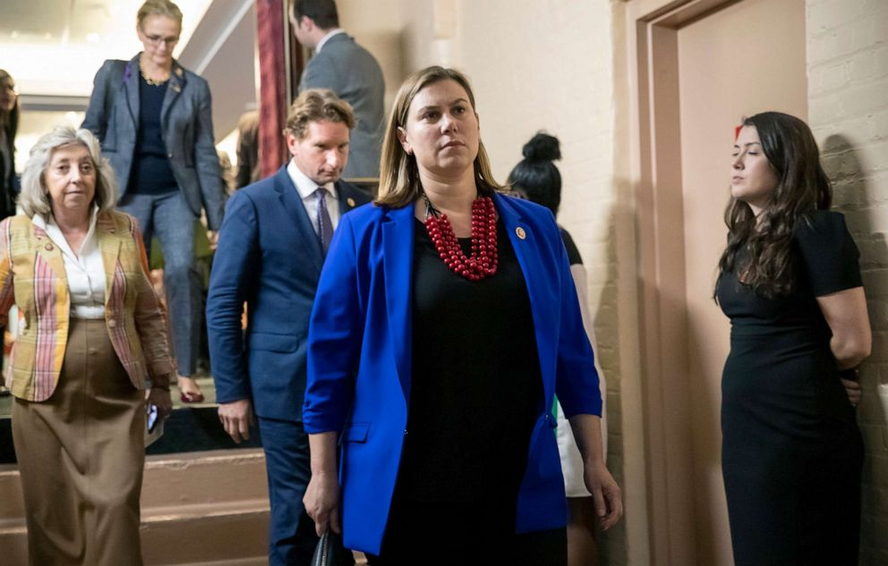 PHOTO: Rep. Elissa Slotkin, D-Mich., leaves a House Democratic Caucus meeting with Speaker of the House Nancy Pelosi, D-Calif. at the Capitol, Sept. 24, 2019.