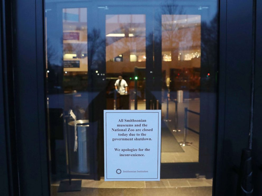 PHOTO: A sign on the door of The National Museum of the American Indian states that the museum is closed as the partial shutdown of the U.S. government goes into the 12th day, Jan. 2, 2019 in Washington, DC.