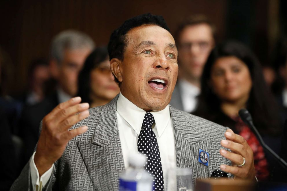 PHOTO: Singer Smokey Robinson testifies during a Senate Judiciary Committee hearing on music protections, May 15, 2018, on Capitol Hill in Washington.