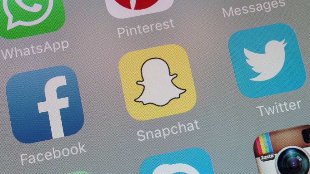 Facebook, Snapchat, Twitter and other social networking Apps are pictured on the screen of a mobile phone in this undated stock photo.
