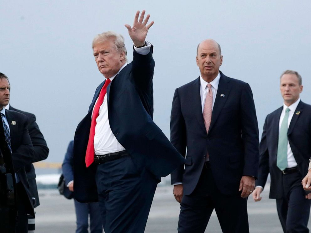 PHOTO: President Donald Trump is joined by Gordon Sondland, the U.S. ambassador to the European Union, second from right, as he arrives at Melsbroek Air Base, in Brussels, Belgium, July 10, 2018.