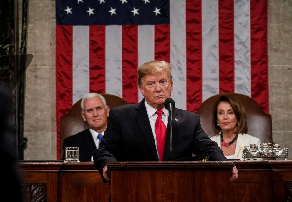 President Donald Trump delivers the State of the Union address, with Vice President Mike Pence and Speaker of the House Nancy Pelosi, at the Capitol in Washington, Feb. 5, 2019.