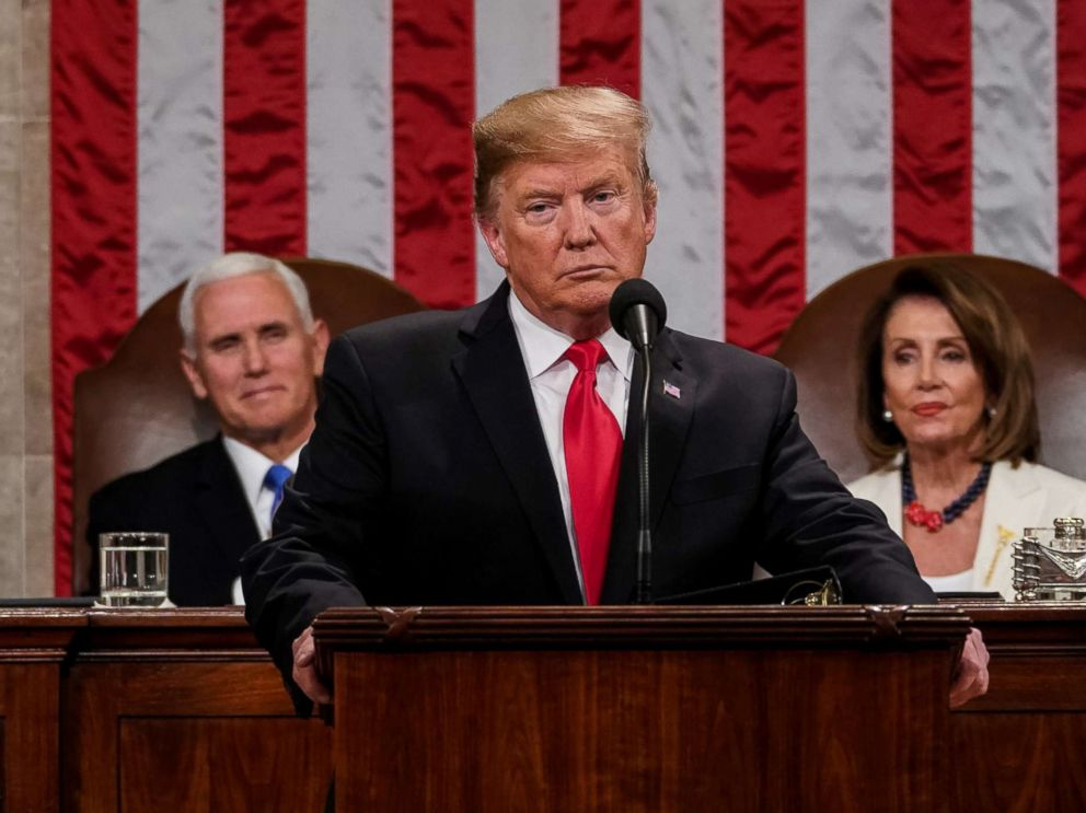 PHOTO: President Donald Trump delivers the State of the Union address, with Vice President Mike Pence and Speaker of the House Nancy Pelosi, at the Capitol in Washington, Feb. 5, 2019.