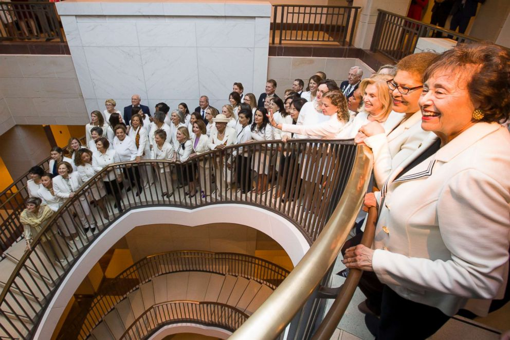 PHOTO: Rep. Nita Lowey is joined by other women wearing white as they pose for a group photo before the State of the Union address by President Donald Trump, on Capitol Hill, Feb. 5, 2019 in Washington.