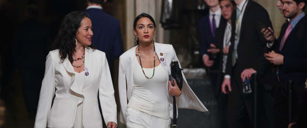 PHOTO: Rep. Alexandria Ocasio Cortez arrives with guest Ana Maria Archilla of New York, before President Donald Trump delivers his second State of the Union address at the U.S. Capitol in Washington, Feb. 5, 2019.