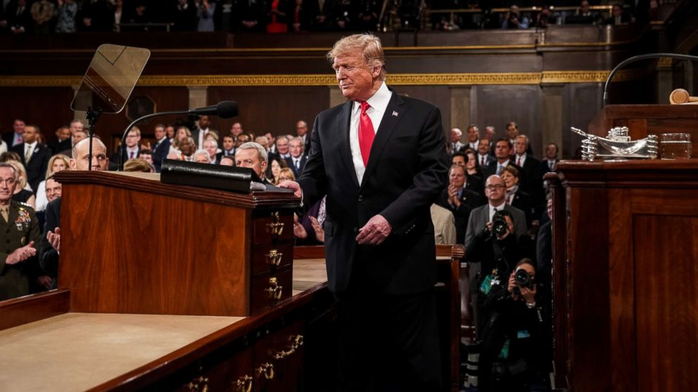 President Donald Trump arrives to deliver the State of the Union address in the U.S. Capitol Building on Feb. 5, 2019, in Washington.