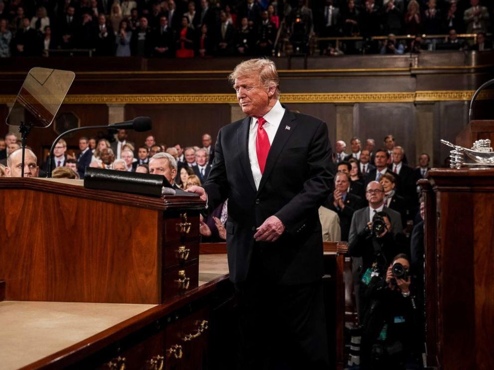 PHOTO: President Donald Trump arrives to deliver the State of the Union address in the U.S. Capitol Building on Feb. 5, 2019, in Washington.