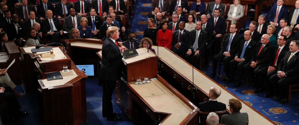 PHOTO: President Donald Trump delivers his State of the Union address to a joint session of Congress on Capitol Hill in Washington, Feb. 5, 2019.