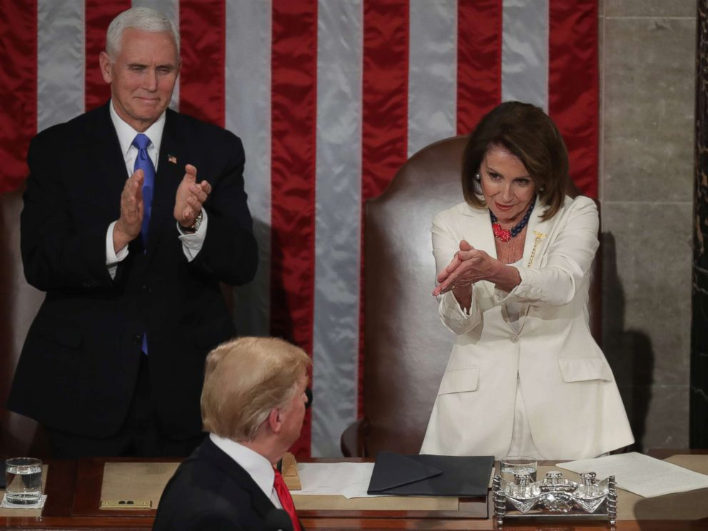 PHOTO: Speaker Nancy Pelosi and Vice President Mike Pence applaud President Donald Trump at the State of the Union address at the U.S. Capitol on Feb. 5, 2019.
