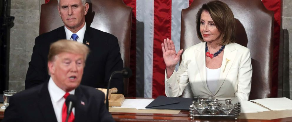 PHOTO: Speaker of the House Nancy Pelosi raises her hand in a gesture to quiet the Democrats as President Donald Trump delivers his State of the Union address to a joint session of Congress on Capitol Hill in Washington, Feb. 5, 2019.