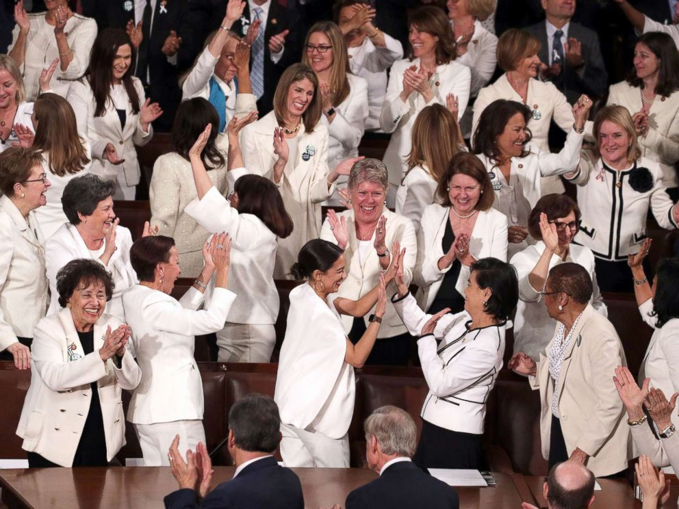 PHOTO: Female lawmakers cheer during President Donald Trumps State of the Union address in the chamber of the U.S. House of Representatives on Feb. 5, 2019, in Washington.