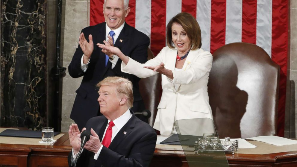 Vice president Mike Pence and Speaker of the House Nancy Pelosi react as President Donald J. Trump delivers his second State of the Union address from the floor of the House of Representatives on Capitol Hill in Washington, Feb. 5, 2019.