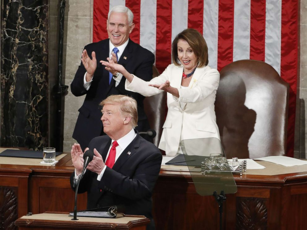 PHOTO: Vice president Mike Pence and Speaker of the House Nancy Pelosi react as President Donald J. Trump delivers his second State of the Union address from the floor of the House of Representatives on Capitol Hill in Washington, Feb. 5, 2019.