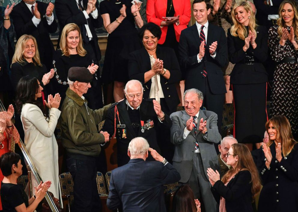 PHOTO: Special guest of President, WWII veteran Herman Zeitchik, surrounded by Trump family members and other special guests, is acknowledged by the audience during President Trumps State of the Union address in Washington, Feb. 5, 2019.