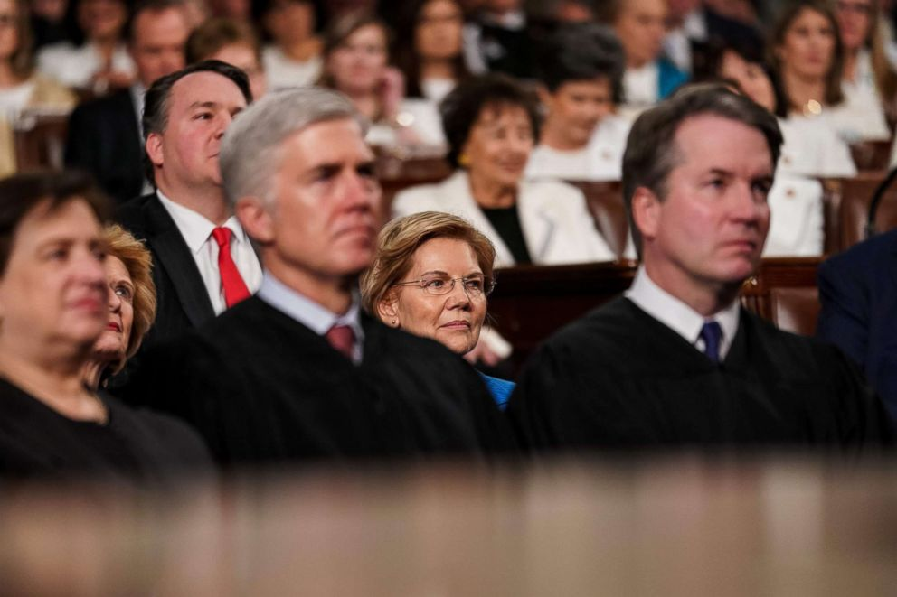PHOTO: Sen. Elizabeth Warren sits behind Supreme Court Justices at the State of the Union address at the U.S. Capitol in Washington, Feb. 5, 2019.