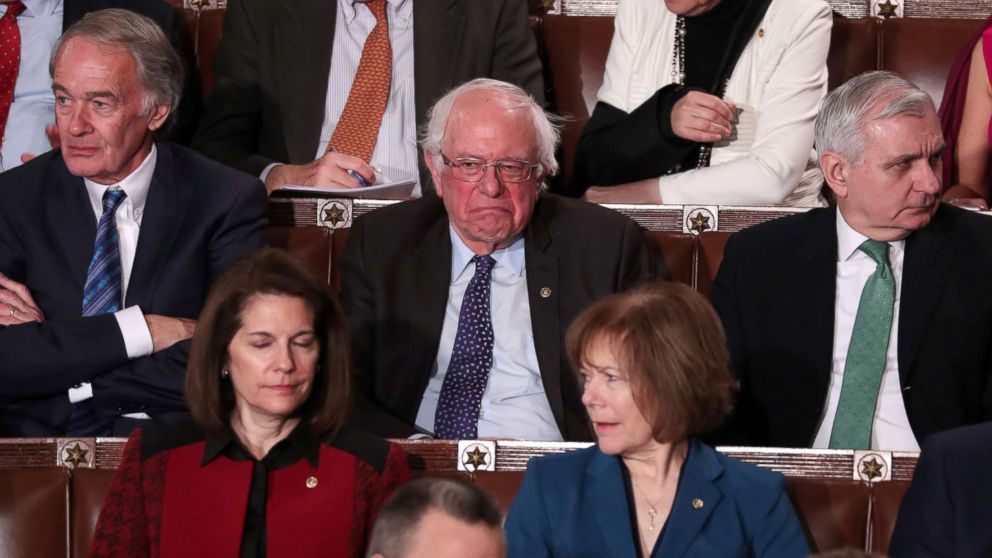 Senator Bernie Sanders reacts as President Donald Trump delivers his second State of the Union address to a joint session of Congress at the U.S. Capitol in Washington, Feb. 5, 2019.