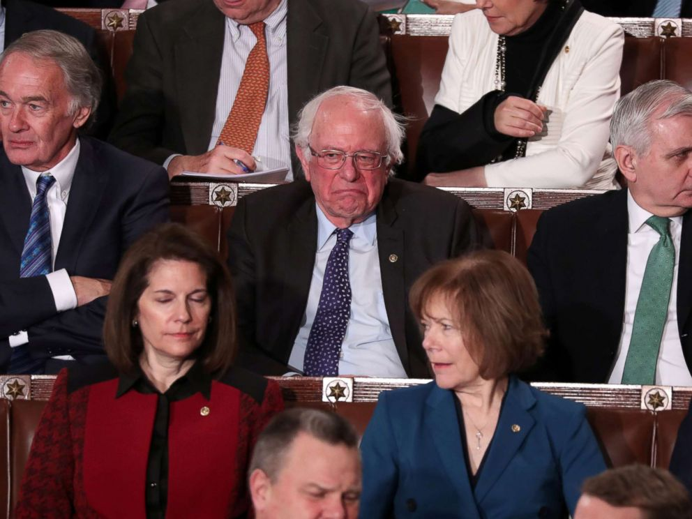 PHOTO: Senator Bernie Sanders reacts as President Donald Trump delivers his second State of the Union address to a joint session of Congress at the U.S. Capitol in Washington, Feb. 5, 2019.