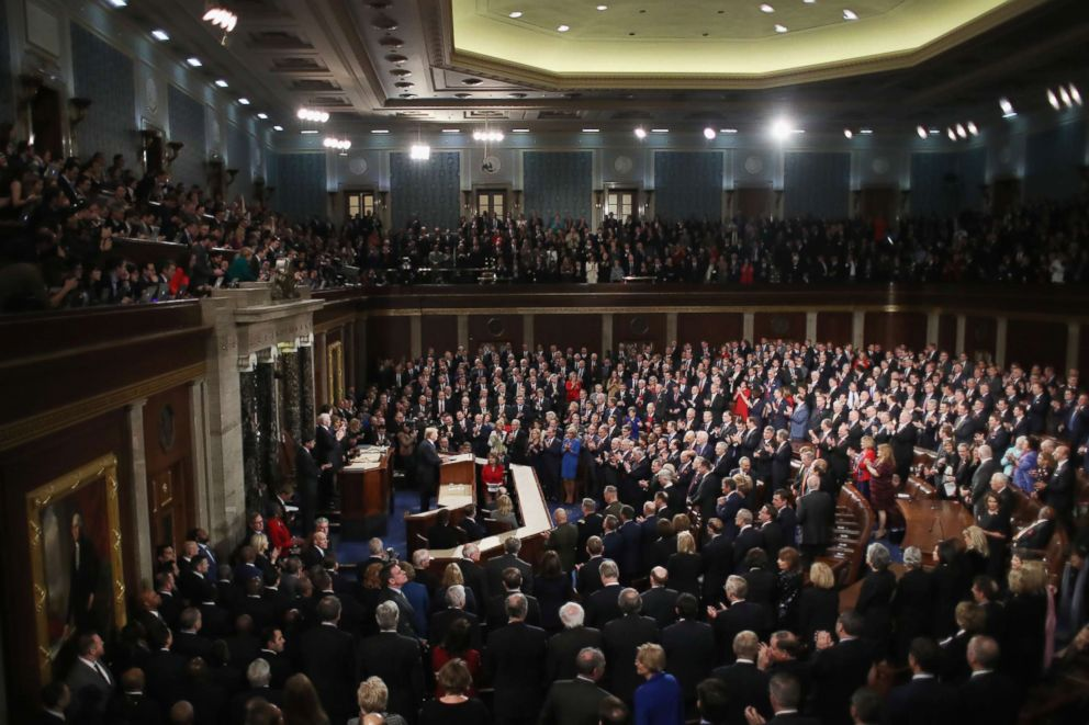 PHOTO: President Donald Trump delivers the State of the Union address in the chamber of the U.S. House of Representatives, Jan. 30, 2018 in Washington.