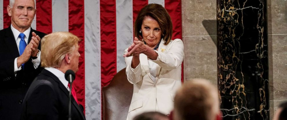 PHOTO: House Speaker Nancy Pelosi claps her hands at President Donald Trump during the State of the Union address at the Capitol in Washington, Feb. 5, 2019.
