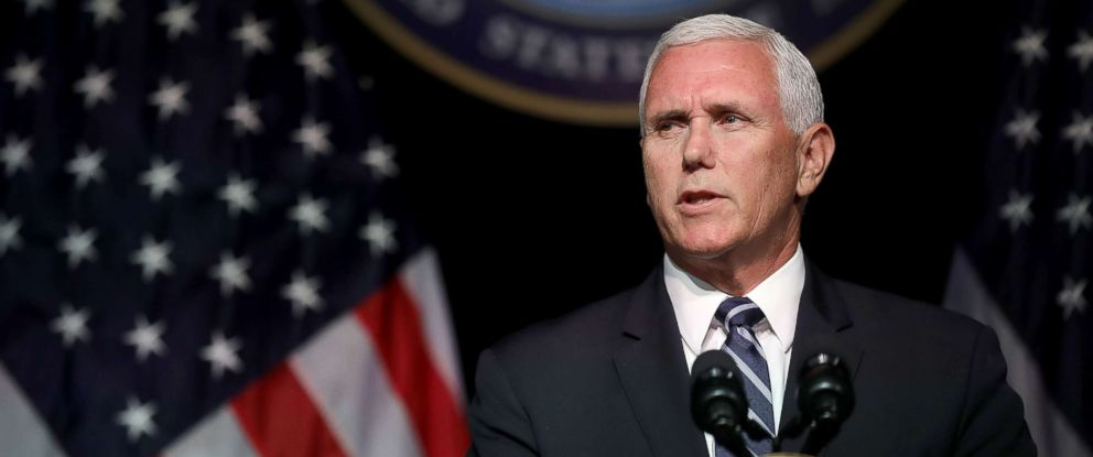 PHOTO: Vice President Mike Pence announces the Trump Administrations plan to create the U.S. Space Force by 2020 during a speech at the Pentagon, Aug. 9, 2018, in Arlington, Va.