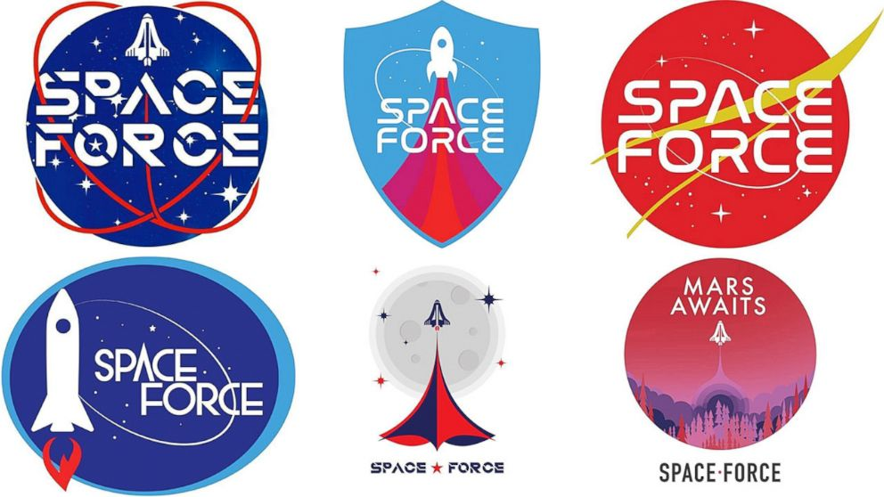 PHOTO: Logos for the new Space Force were released by the Trump campaign to supporters to vote for their favorite, Aug. 9, 2018.