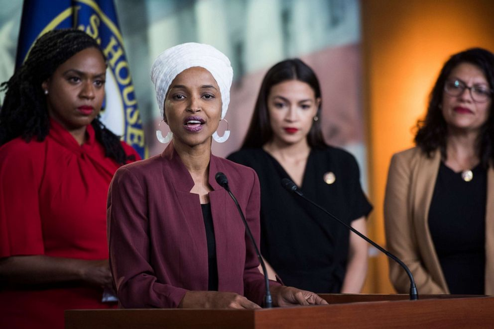 PHOTO: From left, Reps. Ayanna Pressley, D-Mass., Ilhan Omar, D-Minn., Alexandria Ocasio-Cortez, D-N.Y., and Rashida Tlaib, D-Mich., conduct a news conference, Monday, July 15, 2019.