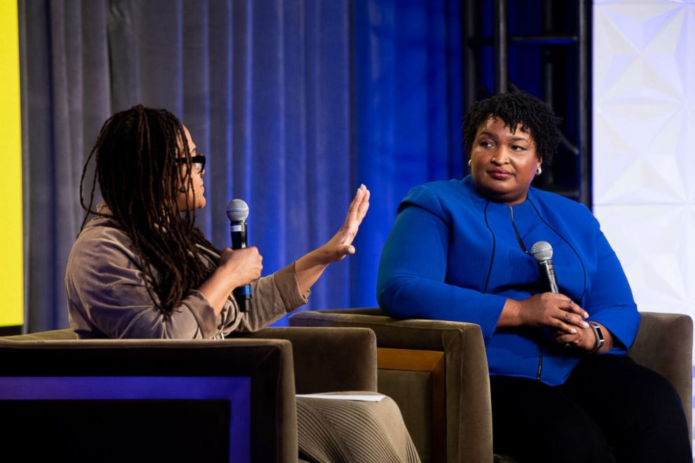 PHOTO: Ava Duvernay and Stacey Abrams speak onstage at the 3rd yearly National Day of Racial Healing, Jan. 22, 2019, in Los Angeles.