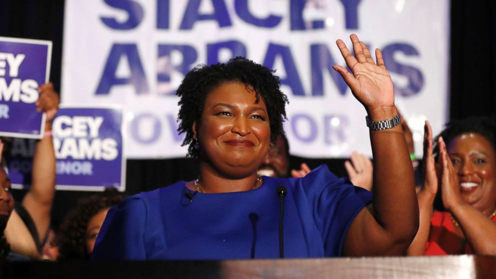 Democratic candidate for Georgia Governor Stacey Abrams waves to supporters after speaking at an election-night watch party, May 22, 2018, in Atlanta.