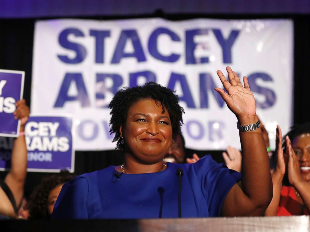 PHOTO: Democratic candidate for Georgia Governor Stacey Abrams waves to supporters after speaking at an election-night watch party, May 22, 2018, in Atlanta.