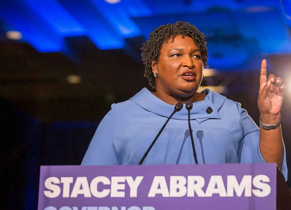 PHOTO: In this Nov. 7, 2018, file photo, Georgia gubernatorial candidate Stacey Abrams speaks to her supporters during her election night watch party in Atlanta.
