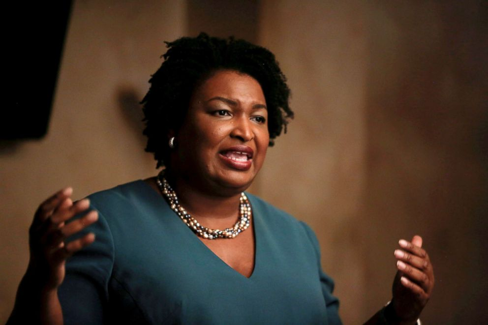 PHOTO: Stacey Abrams speaks at a Young Democrats of Cobb County meeting as she campaigns in Cobb County, Georgia, Nov. 16, 2017.