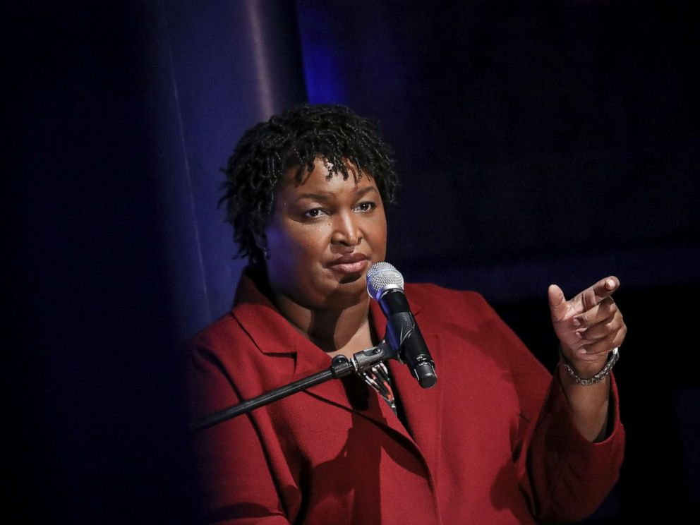 PHOTO: Former Georgia gubernatorial candidate Stacey Abrams speaks during a conversation about criminal justice reform at the New York Public Library, April 10, 2019 in New York City.