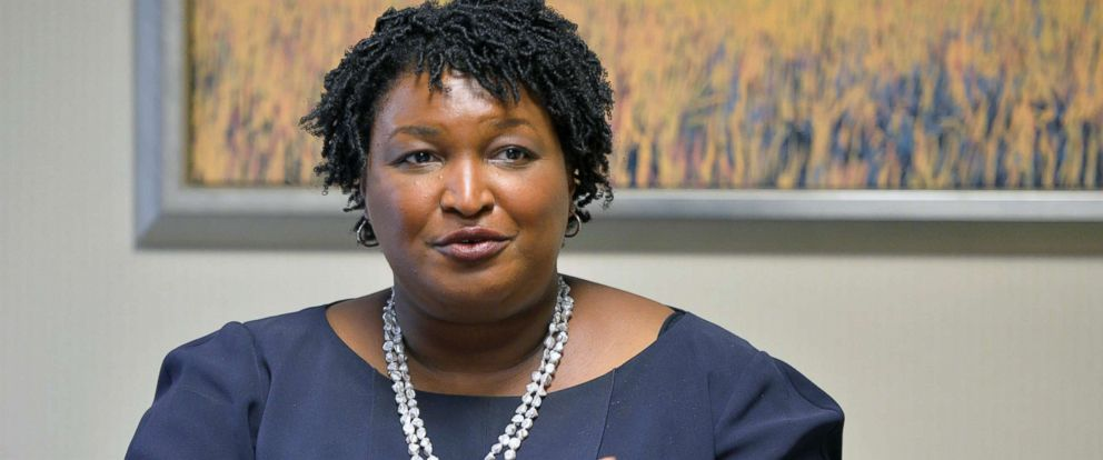 PHOTO: Democratic candidate for Georgia Governor Stacey Abrams visits the Augusta Chronicle editorial board, Oct. 17, 2018, in Augusta, Ga., Wednesday, Oct. 17, 2018.
