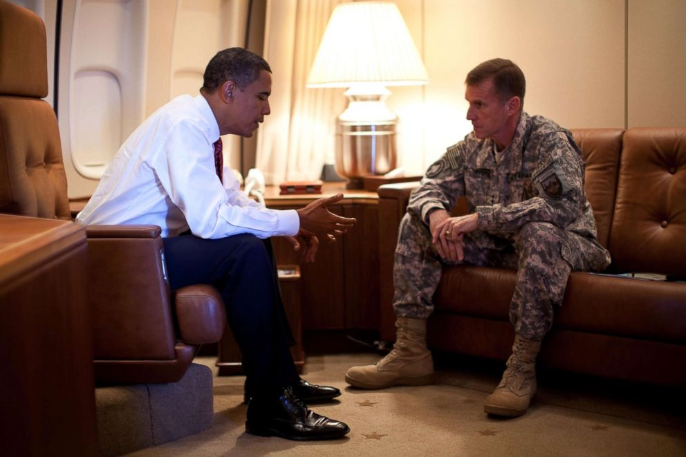 PHOTO: President Barack Obama meets with Army Gen. Stanley McChrystal, the Commander of U.S. Forces in Afghanistan, aboard Air Force One in Copenhagen, Denmark on Oct. 2, 2009.