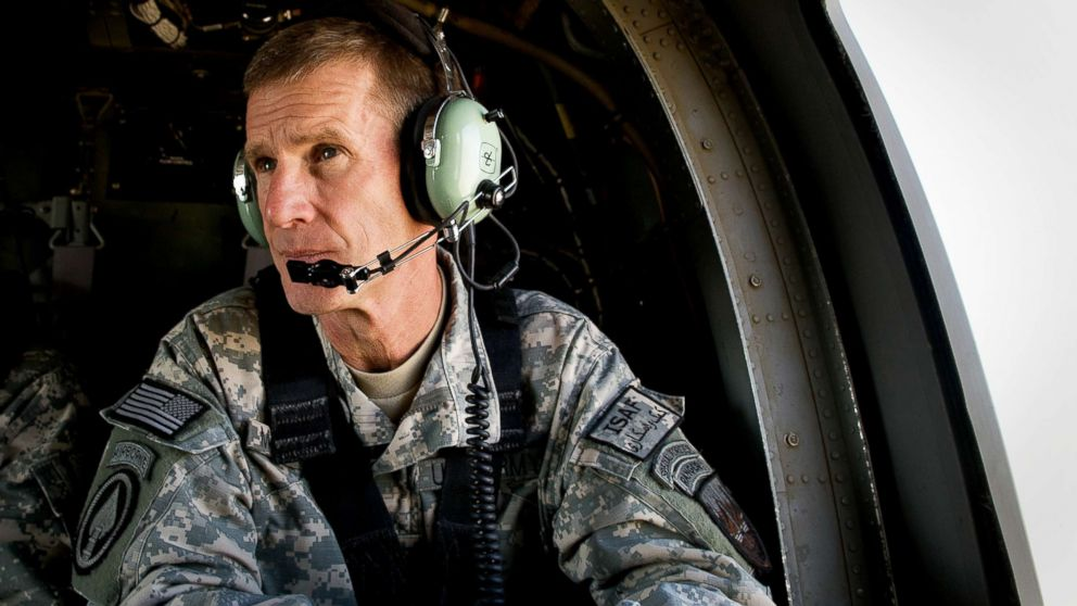 Commander General Stanley A. McChrystal sits in a helicopter after a lengthy conference meeting with military officials at the forward operating base (FOB) Walton, outside of Kandahar, Afghanistan, Oct. 7, 2009.