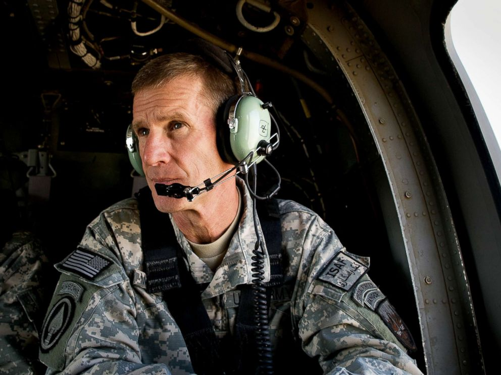 PHOTO: Commander General Stanley A. McChrystal sits in a helicopter after a lengthy conference meeting with military officials at the forward operating base (FOB) Walton, outside of Kandahar, Afghanistan, Oct. 7, 2009.