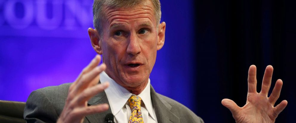 "PHOTO: Retired General Stanley McChrystal speaks during a session called ""Lessons in Leadership"" at the Wall Street Journals CEO Council meeting in Washington, Dec. 2, 2014."