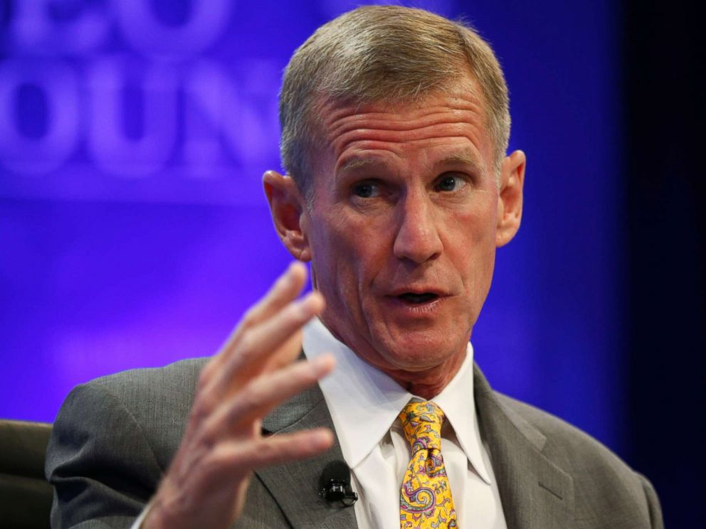 PHOTO: Retired General Stanley McChrystal speaks during a session called Lessons in Leadership at the Wall Street Journals CEO Council meeting in Washington, Dec. 2, 2014.