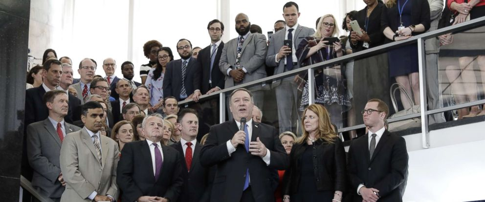 PHOTO: Secretary of State Mike Pompeo speaks to employees at the State Department in Washington, D.C., May 1, 2018.
