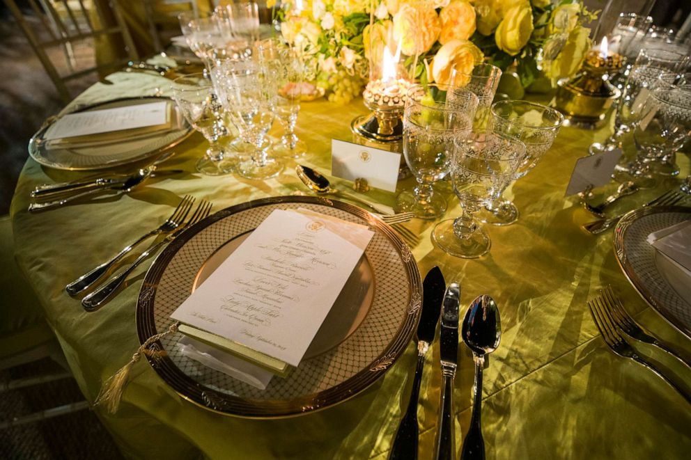 PHOTO: A table is set during a media preview for the State Dinner with President Donald Trump and Australian Prime Minister Scott Morrison in the Rose Garden of the White House, Sept. 19, 2019, in Washington.