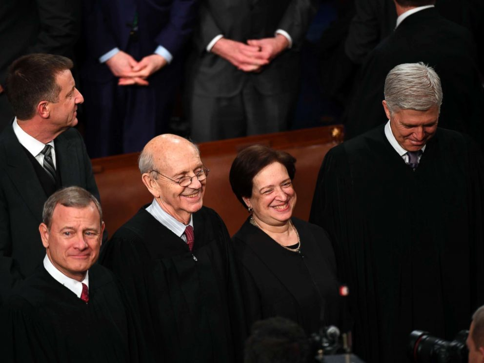 PHOTO: From left, Chief Justice of the U.S. Supreme Court John Roberts, Associate Justices Stephen Breyer, Elena Kagan and Neil Gorsuch are seen before President Donald Trump delivers the State of the Union address from the House chamber, Jan. 30, 2018.