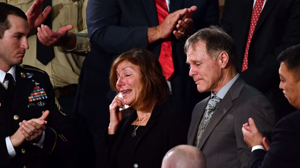 Fred and Cindy Warmbier are recognized during President Donald Trump's State of the Union address January 30, 2018.