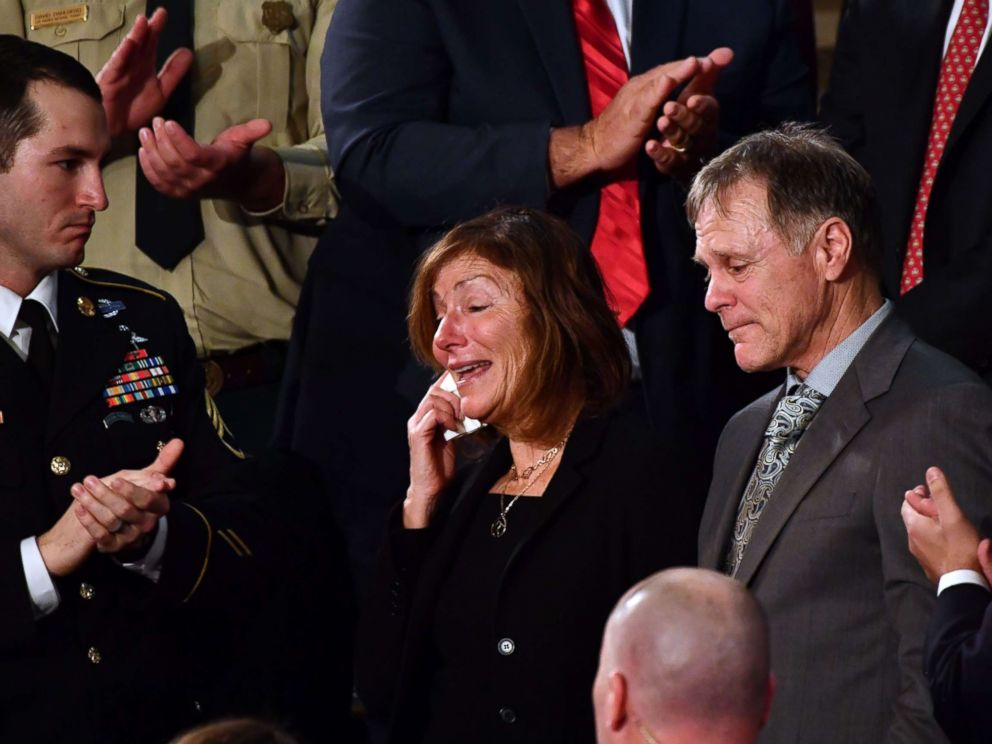 PHOTO: Fred and Cindy Warmbier are recognized during President Donald Trumps State of the Union address January 30, 2018.