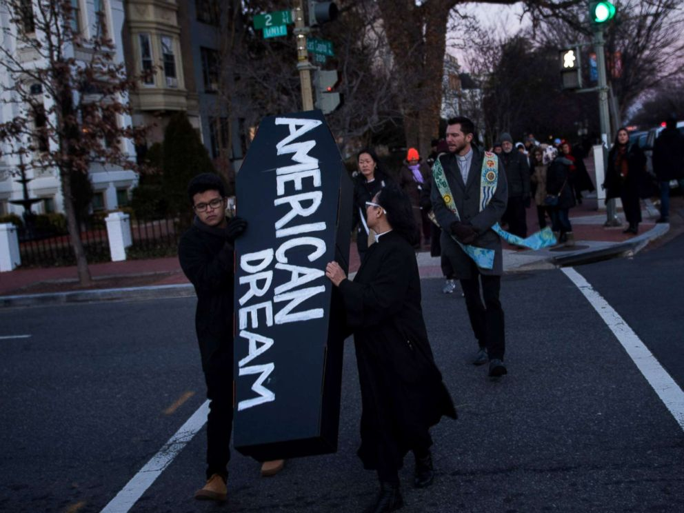 PHOTO: Activists and dreamers protest before President Donald Trumps State of the Union address on Jan. 30, 2018 in Washington.