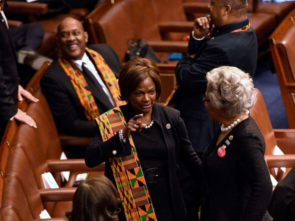 PHOTO: Democratic members of congress wear sashes representing countries that President Donald Trump reportedly demeaned ahead of the State of the Union address from the House chamber of the United States Capitol, Jan. 30, 2018.