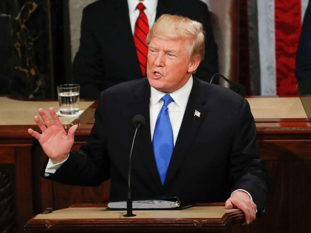 PHOTO: President Donald Trump delivers his State of the Union address to a joint session of Congress on Capitol Hill in Washington, Jan. 30, 2018.